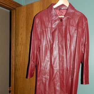 Borgo Antico Maroon Made in Italy Leather Coat